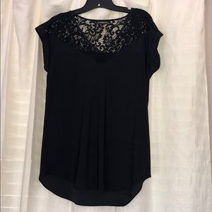 Express Lace Short Sleeve Silk Blouse M EUC